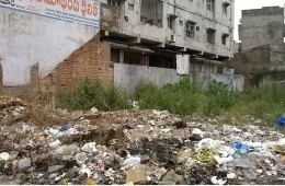 Biomedical wastes disposed at Vijaya Talkies lane in Hanamkonda.